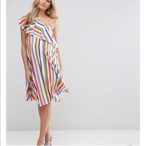 Maternity one shoulder stripe dress